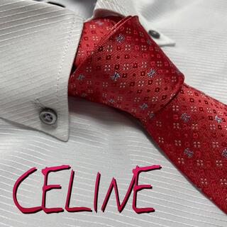セリーヌ ネクタイ【未使用に近い】CELINE  ブランドロゴ 光沢 やや厚手