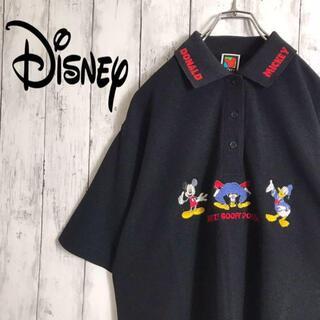 ディズニー(Disney)の90sディズニー ポロシャツ キャラ刺繍 ミッキー 美品 襟2wayデザイン L(ポロシャツ)