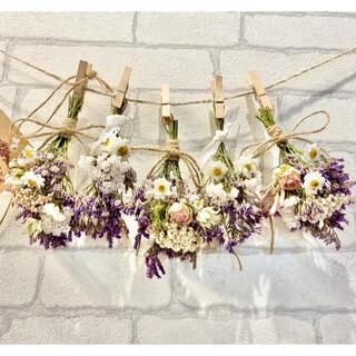 ドライフラワー スワッグ ガーランド❁269 紫 白 薔薇 スターチス 花束♪(ドライフラワー)
