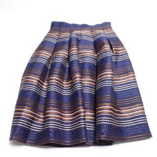 アンドクチュール(And Couture)の■And Couture Aラインスカート 紺ストライプ レディースF(ひざ丈スカート)