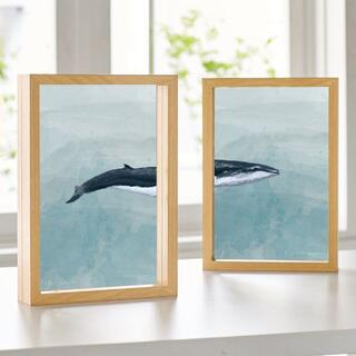 【アートポスター】ニュアンス ブルー 抽象画 壁画 選べるサイズ おしゃれ 魚(アート/写真)