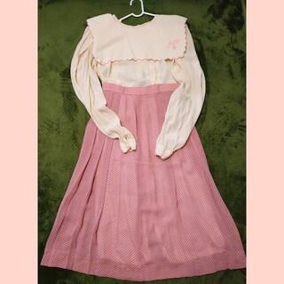 グリモワール(Grimoire)のヴィンテージ ピンク ドット スカート 着用画像あり(ロングスカート)