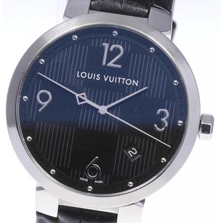 ルイヴィトン(LOUIS VUITTON)の☆美品 ルイ・ヴィトン タンブール ダミエ デイト Q1D00 メンズ 【中古】(腕時計(アナログ))