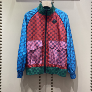 Gucci - GUCCI グッチ★GGロゴジャケット マルチカラー シルクツイル