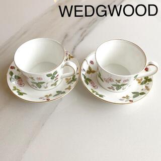 WEDGWOOD - 【美品】WEDGWOOD ウェッジウッド/ワイルドストロベリー カップ&ソーサ