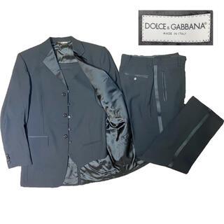 ドルチェアンドガッバーナ(DOLCE&GABBANA)の極美品 高級 ドルガバ スリーピース セットアップスーツ スーツ ブラック(セットアップ)