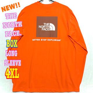 ザノースフェイス(THE NORTH FACE)の超ビッグ ♪ 新品 ノースフェイス BOX NSE ロンT オレンジ 4XL(Tシャツ/カットソー(七分/長袖))