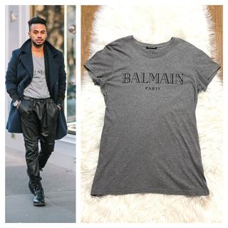 バルマン(BALMAIN)の本物 バルマンオム ロゴプリント Tシャツ カットソー S 灰 黒 (Tシャツ/カットソー(半袖/袖なし))