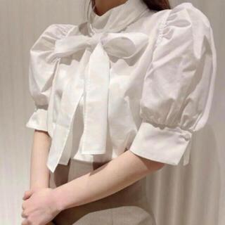 スナイデル(snidel)のsnidel リボンシャツトップス(シャツ/ブラウス(半袖/袖なし))