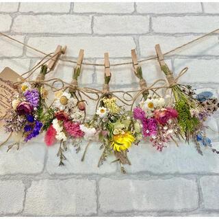 ドライフラワー スワッグ ガーランド❁274カラフル 薔薇 かすみ草 花束♪(ドライフラワー)