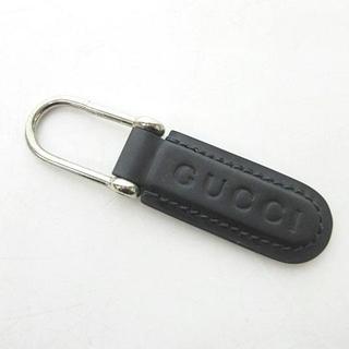 Gucci - グッチ キーホルダー キーリング チャーム レザー ロゴ ブラック シルバー