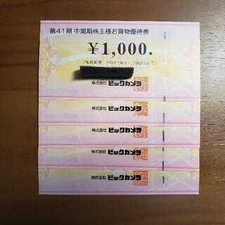 ビックカメラ株主優待券5000円分(ショッピング)