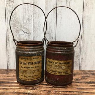 リメイク缶 グリーンワインレッド2個セット(プランター)