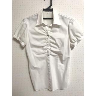 アオキ(AOKI)のyシャツ AOKI 半袖 フリル レディース  断捨離中 9号(シャツ/ブラウス(半袖/袖なし))