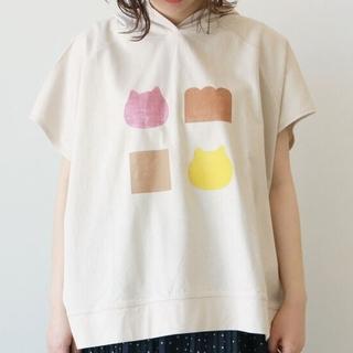 サマンサモスモス(SM2)の【ねこねこ食パン】モノグラムプリントパーカー ベージュ(パーカー)