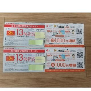 ビックカメラ株主優待 株主様限定特別優待クーポン&ラクウル買取金額1000円増額(ショッピング)