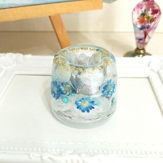 ★特価★No.276【Lサイズ】Blue&White✨固まるハーバリウムペン立て(プリザーブドフラワー)