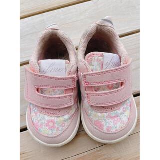 ブランシェス(Branshes)のイフミ 靴 14cm 淡いピンク 花柄(スニーカー)