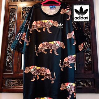 アディダス(adidas)のアディダス 花柄レオパード Tシャツ ワンピース ジャージ ひょう柄 ヒョウ柄 (ミニワンピース)