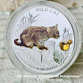 猫好き必見★2014年 フィジー銀貨 BOX&証明書付属/ネコ コイン(貨幣)