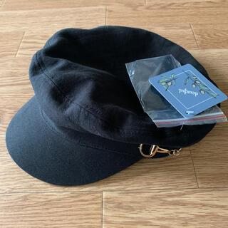 シマムラ(しまむら)のプチプラのあや 麻混素材キャスケット 中黒色(キャスケット)