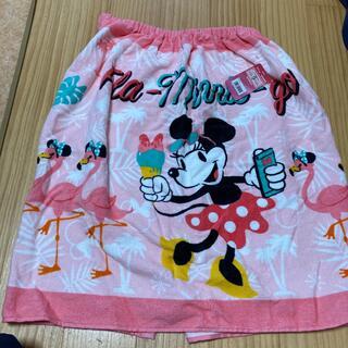 新品未使用 ディズニー ミニーマウス スナップ付きタオル 巻きタオル