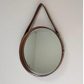アクタス(ACTUS)のZARA HOME 壁掛け 鏡 ウォールミラー ベルト付きレザー鏡(壁掛けミラー)