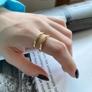 プラージュ(Plage)のsilver925 ダブルラインゴールドリング 指輪 RR037(リング(指輪))