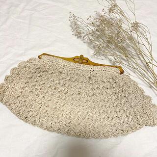 グリモワール(Grimoire)のレトロ《木の素材の編みバッグ》春夏に 古着やレトロコーデ、浴衣や和装に(かごバッグ/ストローバッグ)