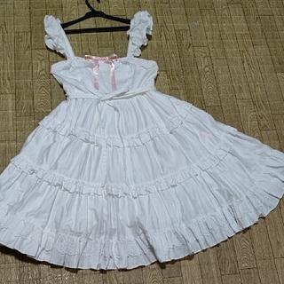 アンジェリックプリティー(Angelic Pretty)のハートフリルティアードジャンパースカート(ひざ丈スカート)