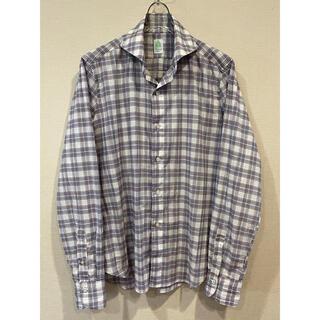 フィナモレ(FINAMORE)のフィナモレ チェックシャツ 41/16 カッタウェイ イタリア製 ふんわり生地(シャツ)