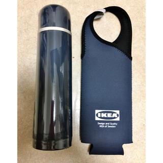 イケア(IKEA)のIKEA ヘルサ スチール製魔法瓶とボトルホルダーセット(水筒)