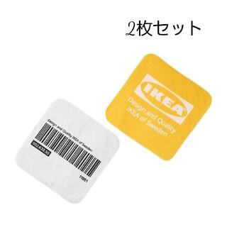 イケア(IKEA)のIKEA ロゴデザイン タオルハンカチ バーコード 2枚セットエフテルトレーダ(タオル/バス用品)