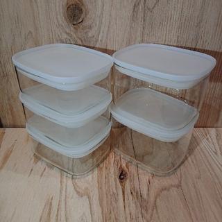 ムジルシリョウヒン(MUJI (無印良品))の無印良品 耐熱ガラス保存容器(角型)5個セット(容器)