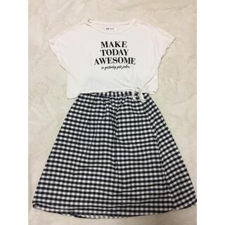 エイチアンドエム(H&M)のH&M  Tシャツ GUスカートセット130㎝(ワンピース)
