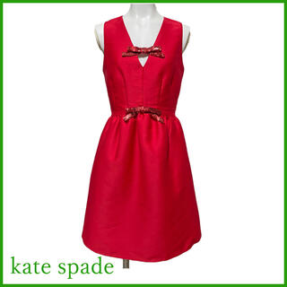 ケイトスペードニューヨーク(kate spade new york)の新品ケイトスペードkate spadeリボン ドレスワンピース 赤#00(ミニワンピース)