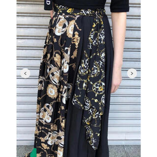 one spo - ワンスポ one spo スカーフ柄ロング巻プリーツスカート