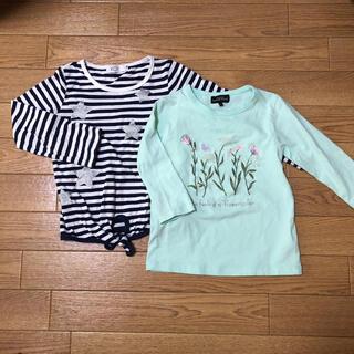 ユナイテッドアローズ(UNITED ARROWS)のお花刺繍トップスと星柄ボーダートップスのセット 110㎝(Tシャツ/カットソー)