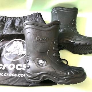 クロックス(crocs)のクロックスCROCS長靴レインブーツ22cm-23cmW6-7黒収納バック付き(レインブーツ/長靴)