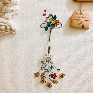 お花の壁飾り&フックセット(B)☆ワイヤークラフト(その他)