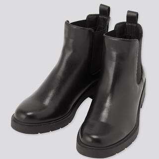 UNIQLO - 【新品】UNIQLO サイドゴアショートブーツ 黒 24㎝ ユニクロ ブーツ