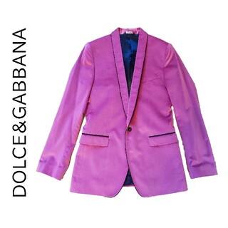 ドルチェアンドガッバーナ(DOLCE&GABBANA)の【新品未使用】DOLCE&GABBANA 高級ベルベットジャケット ピンク 48(テーラードジャケット)