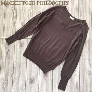 マッキントッシュフィロソフィー(MACKINTOSH PHILOSOPHY)のMACKINTOSH PHILOSOPHYクルーネックコットンニットセーター38(ニット/セーター)