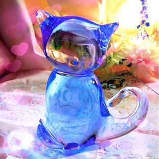 猫のガラス置き物オブジェ ブルークリアガラス(ガラス)