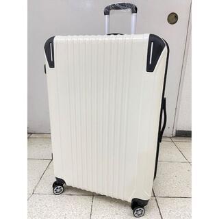大型軽量スーツケース8輪キャスター TSAロック付き Lキャリーケース 白(旅行用品)