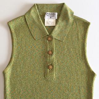 シャネル(CHANEL)の極美品 CHANEL 1996年春夏 ノースリーブ サマーニット ポロシャツ(タンクトップ)