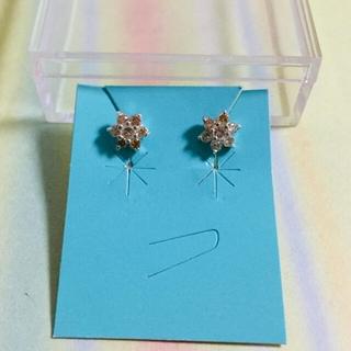 キュービックジルコニア シルバー925 ピアス シトリントパーズ色 花 フラワー(ピアス)