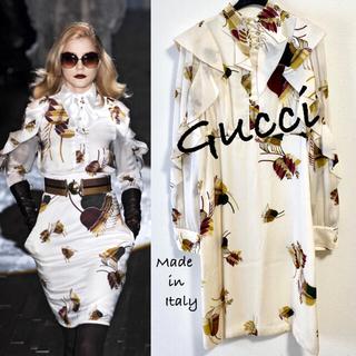 グッチ(Gucci)の07.08 Col.GUCCI/グッチ ワンピース シルク100%・美品 希少(ひざ丈ワンピース)