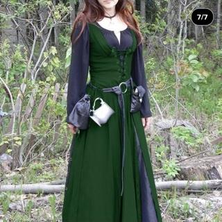 18世紀ヨーロッパ中世風ドレス Mサイズ グリーン 編み上げドレス コスプレ(衣装一式)