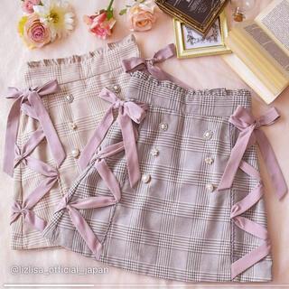 リズリサ(LIZ LISA)の【美品】 LIZLISA🎀サイドレースアップビジュー台形スカート(ミニスカート)